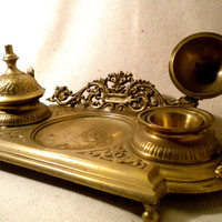 Vintage Victorian Ornate Brass Double Inkwell Footed