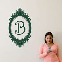Personalized Monogram Wall Decal Baroque Oval frame with Initial Vinyl Wall Art