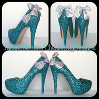 Teal Heart Glitter High Heels