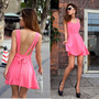 Charming Open Back Tie Pure Dress