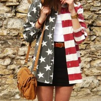 OASAP - American National Flat Long Sleeve Blouse - Street Fashion Store