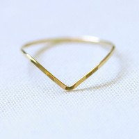 BACKORDERED - One Chevron Thread of Gold Ring - Rose or Yellow - Tiny Hammered Stacking Ring - Delicate Jewelry