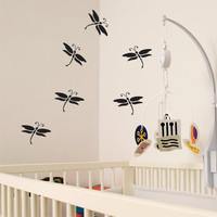 Dragonfly Silhouettes Children Furniture Dresser Decal Stickers