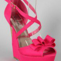 Qupid Jubilee-17 Bow Peep Toe Wedge