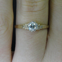 On Reserve - 3rd Payment - Green Gold Victorian Solitaire Six Prong Engraved Wheat Unique Diamond Engagement Ring RGDI513