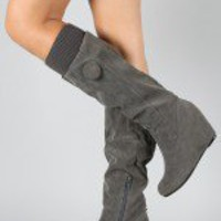 Bamboo Noel-04 Sweater Knee High Wedge Boot
