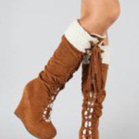Bamboo Ceasar-08 Fur Lace Up Wedge Boot