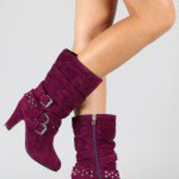 Pure-07 Studded Buckle Slouchy Mid Calf Boot