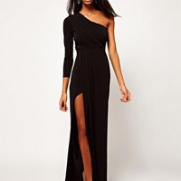 ASOS PETITE Exclusive Maxi Dress With One Shoulder And Split Skirt at asos.com