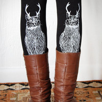 Wild Catalope Leggings - Womens Black Jersey Spandex High Waist Cat wild catalope Leggings - White and Black