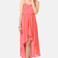 Beading Ticket Coral High-Low Dress