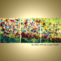 SALE Original Abstract SPRING FLOWERS Painting by LUIZAVIZOLI