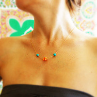 Coral and turquoise necklace, coral necklace, turquoise necklace, coral and turquoise wedding, bridal jewelry, orange coral necklace