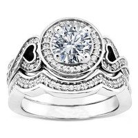 Engagement Ring - Round Diamond Halo and Hearts Engagement Ring with a Wrap Wedding Band in 14K White Gold - ES1058BS