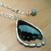Real Butterfly Wing Pendant  Broad GreenBanded by workofwhimsy