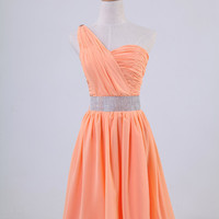 One-shoulder sleeveless knee-length chiffon