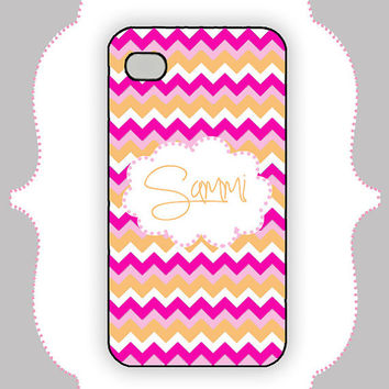 iPhone Case- Pink/Orange Chevron Monogram- iPhone 4 Case, iPhone 4s Case, iPhone 5 Case, Monogram Case, Personalized iPhone Case