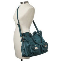 Moda Luxe Satchel with Crossbody Strap - Teal