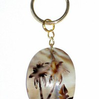 Palm Tree Ocean Beach Tropical Island Cowrie Shell Pendant Key Chain