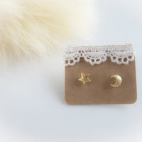tiny gold crescent moon and star post earrings