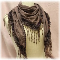 SC9 Plum Leopard and lace fringe triangle knit scarf