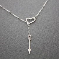 20% Off Valentines Day SALE- Love Heart and Arrow Lariat Necklace- Sterling Silver Necklace, Valentine's