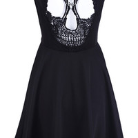 ROMWE | Skull Cut-out Black Dress, The Latest Street Fashion