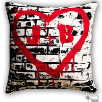 Personalized Graffiti Initials on Brick Wall Cotton Twill 14 x 14 Throw Pillow CASE ONLY