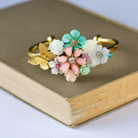 Gold Bracelet  Shabby Chic Bracelet Pastel Floral by lonkoosh