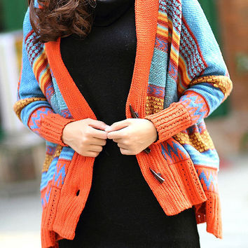 Hottest Color Block Stripe Horn Button Coat in Orange