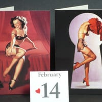 Mini Valentines Cards PinUp Calendar Girls Red Set of 2