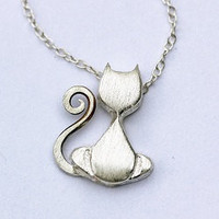 Cat Necklace - tiny silver pendant - Abstract, Wicca, Mystical - Animal Jewelry