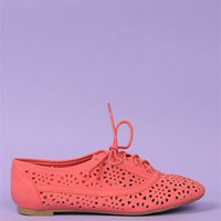 Cut-Out Oxford Flats - Coral