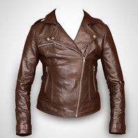 Brown leather jacket, women leather jacket , ladies leather jacket, biker jacket, motorcycle jacket