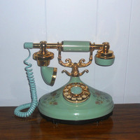 Vintage Rotary Telephone Aqua and Floral by houseofheirlooms