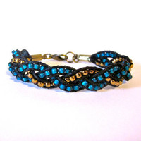 Teal and Bronze Braided Bracelet by DevonVivian on Etsy