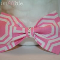 Pink and white Geometric Clip On hair bow