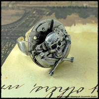 Steampunk Ring   Skull and Crossbones  Large Vintage by SMStudio