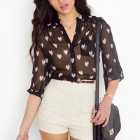 Ikat Heart Blouse - Black in Clothes Tops at Nasty Gal