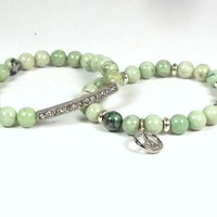 Bracelet Stack Green Gemstone Beads with Rhinestones and Peace Sign
