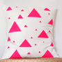 Triangle - Neon pink triangle decorative pillow cover - Valentines gift