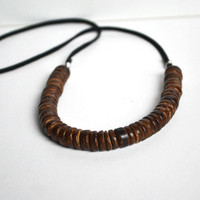 Wooden Eco Necklace. Turquoise Seed Bead Jewelry. Brown Wood Hippie Vibe and Suede Cord Necklace. Earthy Woodland Inspired Jewelry.