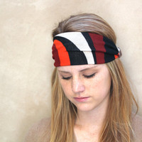 Stretchy Wide Headband, Stripes, Rust, Orange, Black, Camel
