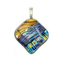 One of a kind Dichroic Glass Pendant, Orange, Purple, Gold, Blue - Goldenbrook Melody - 3424 - 012