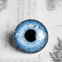 30mm handmade glass eye cabochon - blue/grey eye with glitters