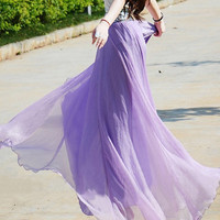 women's lavender purple silk Chiffon 8 meters of skirt circumference  long dress maxi skirt qz02