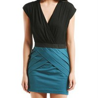A'GACI Solid Fold Front Surplice Dress - Dresses