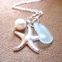Seafoam beachglass Necklace with Starfish &amp; fresh water pearl - Perfect nautical gift for beach lovers, sisters, girlfriends FREE SHIPPING