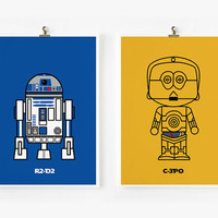 Cute Star wars C3PO & R2D2 5x7 art prints set of 2 by loopzart