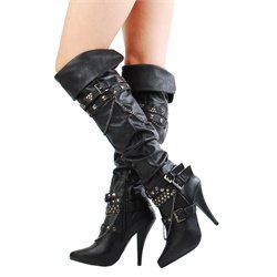 Anne Michelle Cougar20 Black Studded Strappy Chain Thigh Boots and Women's Fashion Clothing & Shoes - Make Me Chic